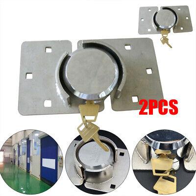 2x Van Garage Shed Door Security Padlock Hasp Set Heavy Duty 73mm Steel Lock