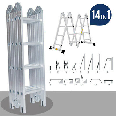 14 IN 1 Combination Multi Purpose 4.7M Aluminium Folding Ladder Bench Step UK