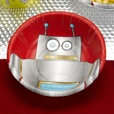 16 x Robot Heroes Paper Bowls Boys Birthday Party Tableware Supplies Red Dessert - Red Paper Bowls