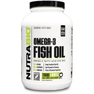 Nutrabio Omega 3 Fish Oil Omega 3  Fatty Acids Epa Dha   500 Softgels