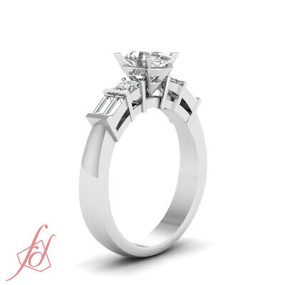 .85 Ct Oval Shape SI1-F Color Diamond Bar Set Engagement Ring 14K White Gold GIA 2