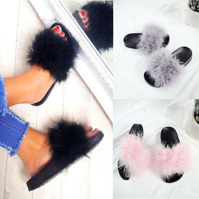 Womens Fur Fluffy Flip Flop Rubber Shoe Sliders Ladies Slip On Slippers Shoes