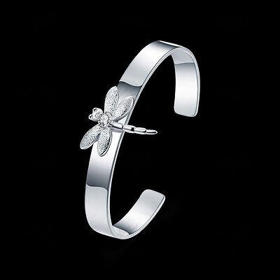Womens 925 Sterling Silver CZ Dragonfly Smooth Cuff Bangle Bracelet + Box -