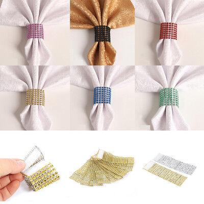 10/50/100PCS Diamond Mesh Wrap 8 Rows Wedding Party Chair Sash Napkin (Napkin Wraps)