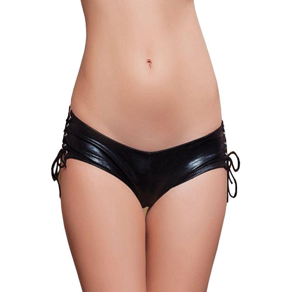 Fashion Wetlook Schwarz Damen Lack Leder Panty Binden Raffung Intim Offen S/XL