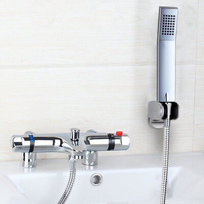 US Bathroom Tub Deck Mounted Thermostatic Valve Faucet+Hand Shower Mixer Tap set