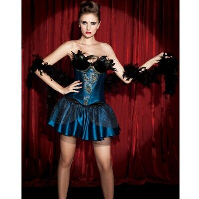 PinUp-Korsage TÜRKIS mit PFAUENFEDERN Rock Burlesque Corsage Federn Kostüm