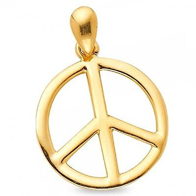 Peace Sign Pendant Solid 14k Yellow Gold Convex Peace Symbol Charm Polished