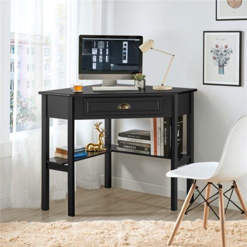 Corner Computer Desk Dresssing Table w/Storage Drawer & Shelves for Home Office