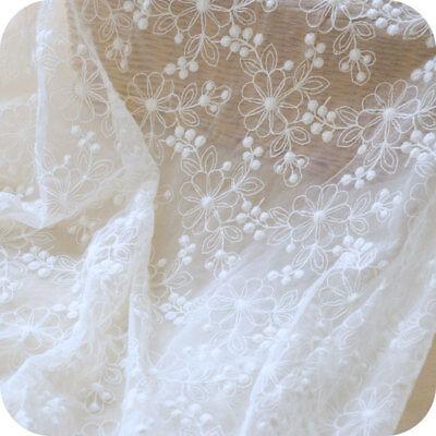 Vintage Blanco Crudo de Novia Traje Encaje Bordado Vestido Bricolaje Tela 0.5M