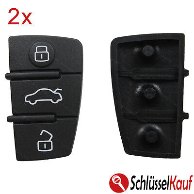 2 Stück Tastenfeld 3 Tasten Auto Schlüssel Gummi passend für Audi A3 A4 A5 A6 A8