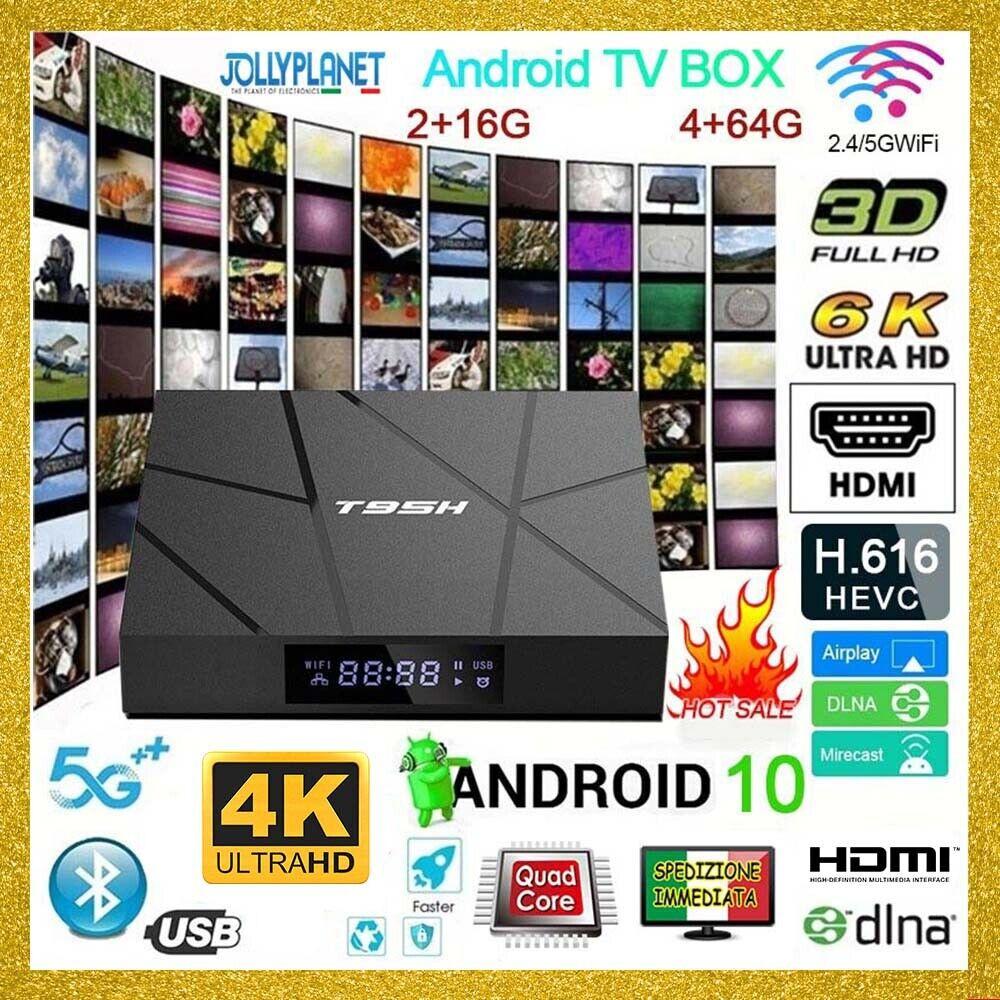 TV BOX 6K T95H 2/4GB + 16/64GB ANDROID 10.0 4K WIFI Quad Core Allwinner Smart