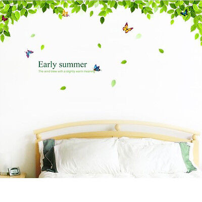 Green leaves & Colorful butterfly flying Wall Sticker Vinyl Decal Home Decor DIY
