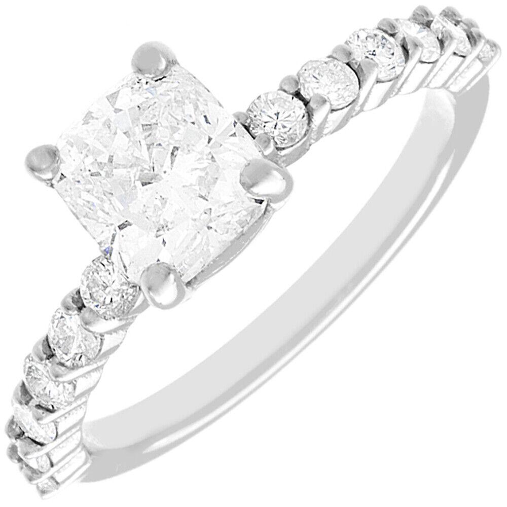 GIA Certified 1.36 carat Cushion Cut Diamond Engagement Ring 18k White Gold 1