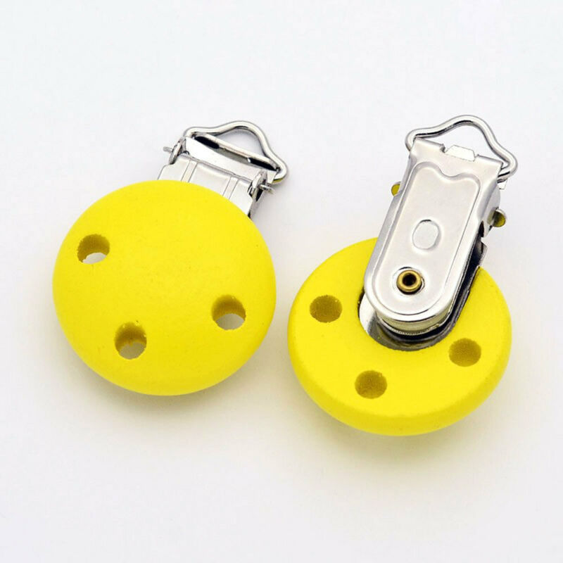 2 Wooden Pacifier Clips or Suspender Clips with Secure Snap Clasp Yellow - Z157