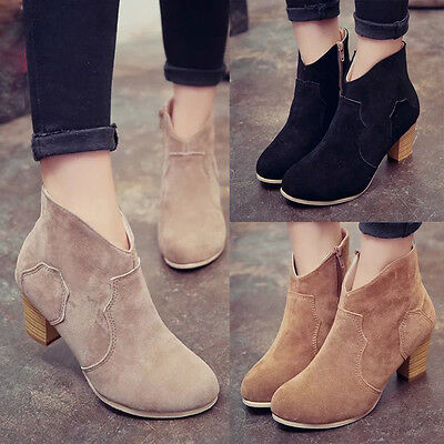 Women Short Cylinder Boots High Heels Boots Shoes Martin Boots Ankle Boots New 1