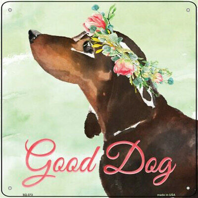 """Dachshund Metal Flower Sign - 12"""" x 12"""" Black for sale  Rochester"""