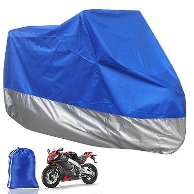 New XXL Motorcycle Waterproof Outdoor Motorbike Bike Rain Cover Blue & Sliver