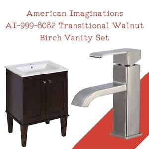 NEW American Imaginations AI-999-8082 Transitional Walnut Birch Vanity Set with One Hole CUPC Faucet, Antique Walnut ...