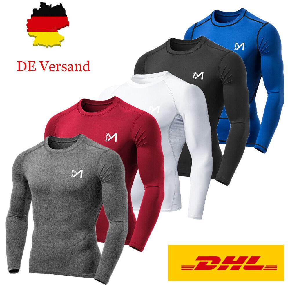 Funktionsshirt Herren Langarm Kompression T Shirts Sport Laufshirt Tights Tops