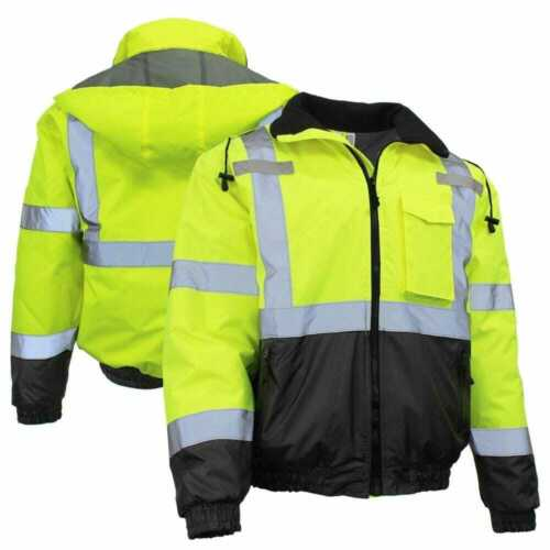 Radians SJ11QB-3ZGS Class 3 Lime Green Quilted Bomber Jacket W/Hood Various Size