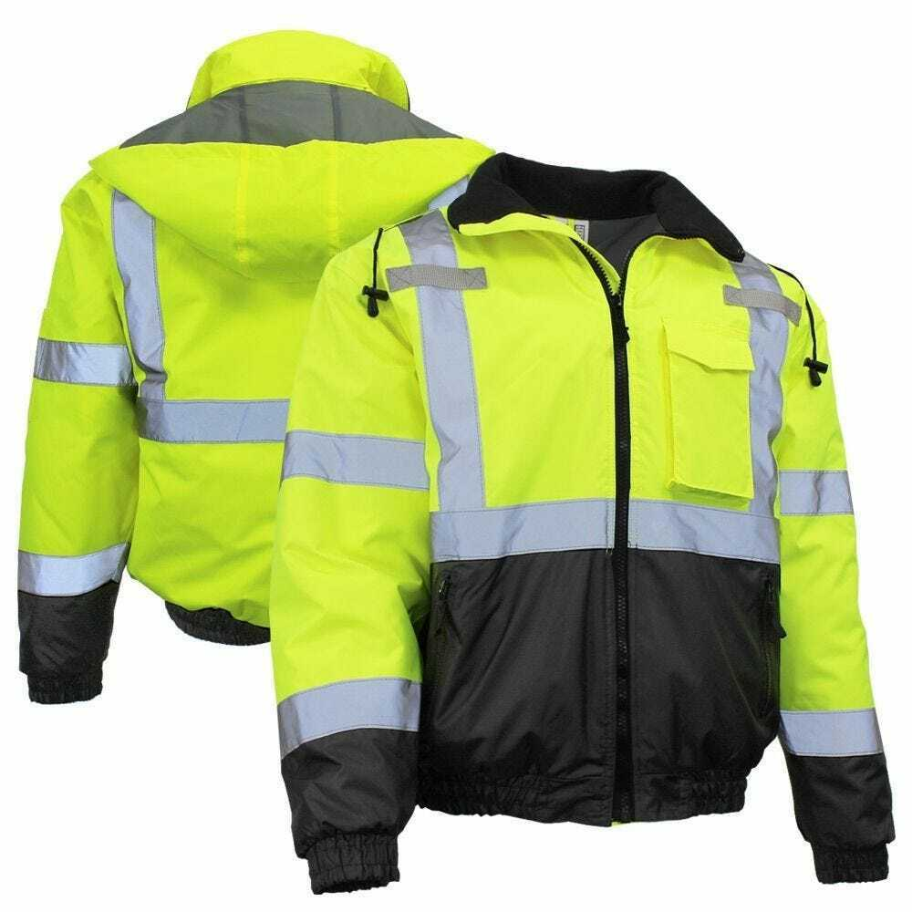 Radians SJ11QB-3ZGS Class 3 Lime Green Quilted Bomber Jacket W/Hood Various Size Business & Industrial