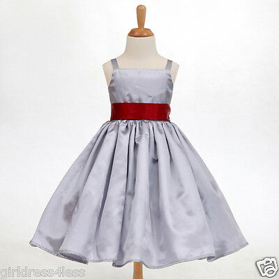 SILVER/GRAY SPAGHETTI STRAPS HOLIDAY FLOWER GIRL DRESS 12-18M 2 3/4 5/6 8 10 12