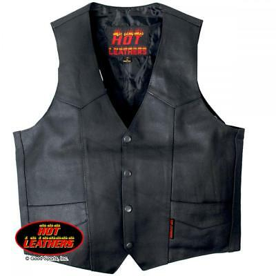 Cowhide Leather Motorcycle Vest - Hot Leathers Heavyweight Cowhide Leather Motorcycle vest Black Biker Bikers NEW