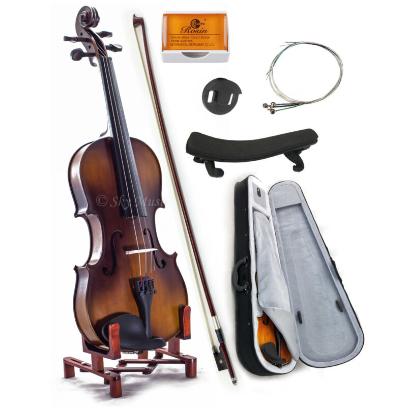 Solid Maple Spruce Wood Fiddle Violin 4/4 Full Size w Case Bow Rosin String
