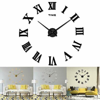 Large Modern Wall Clock 3D Roman Numerals Mirror Stickers Mute Watch DIY Decor  Roman Home Decor