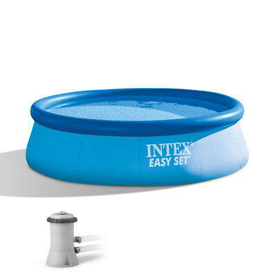 "Intex 12' x 30"" Easy Set Above Ground Swimming Pool & Filter Pump 28131EH"