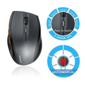 Wireless Mouse, TeckNet Classic 2.4G USB Cordless Mice Optical, Nano Receiver, 6 Buttons