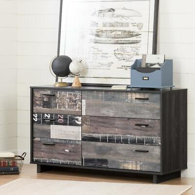 South Shore Fynn 6-Drawer Double Dresser, Gray Oak and Factory Planks Effect ()
