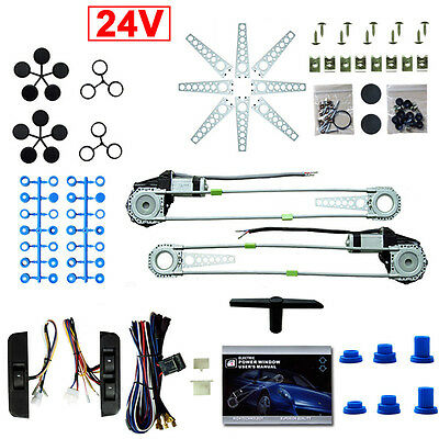 Universal Electric Power Window Motor Lift 2 Door Car Conversion Kit 24V Roll Up