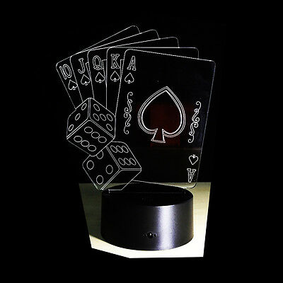 Night Light Acrylic Lamp LED Poker Playing Cards Home Deco Touch Light Gift - Led Playing Cards