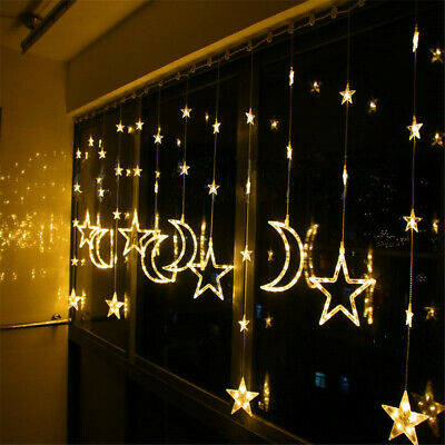 Twinkling Star Moon Fairy String Curtain Lights Window Room Decor Xmas With Plug