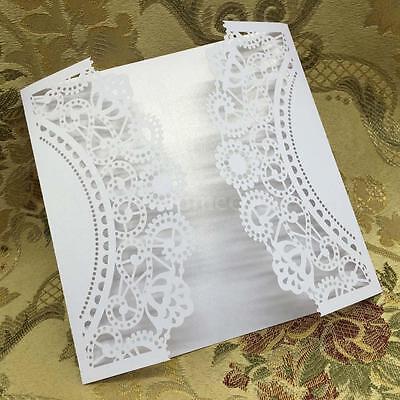 20pcs Laser Cut Wedding Birthday Party Invitation Cards Proper Size White