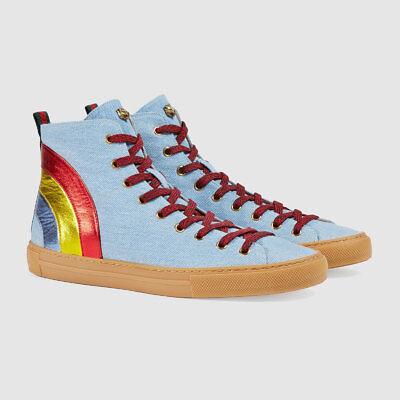 5ea8671b987 NIB Gucci Mens Major Denim Jeans Blue Rainbow Lace High Top Sneaker G 11.5  12.5