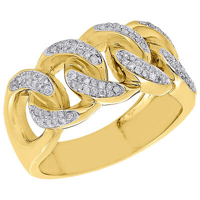 - 10K Yellow Gold Mens Diamond Miami Cuban Link Pave Set Design Pinky Ring 0.43 Ct