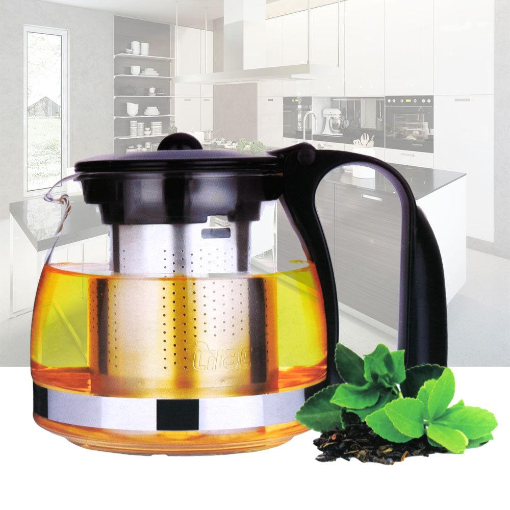 Teekanne 1250ml Glas Glaskanne Teesieb Edelstahl Sieb Teebereiter Tee Kanne