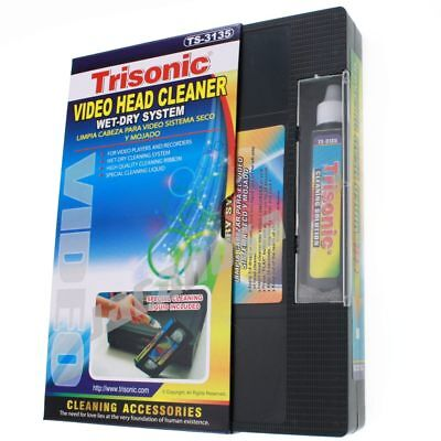 Head Cleaning Video Tape Cassette for VHS VCR Player Recorder Wet or Dry Cleaner Tape Players Recorders