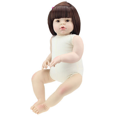 "Lifelike Reborn Baby Dolls Silicone 28"" Alive Naked Toddler Girl Doll DIY Gifts"
