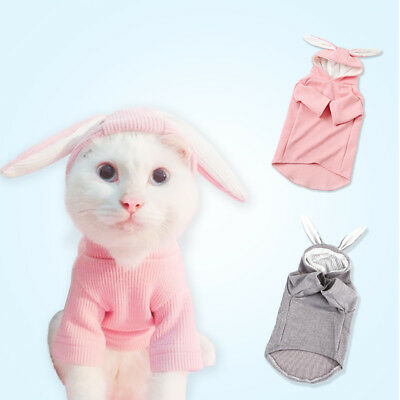 Pet Spring Clothes Dog Cat Cute Bunny Ears Hoodie Sweater Warm Coat Puppy - Dog Bunny Ears