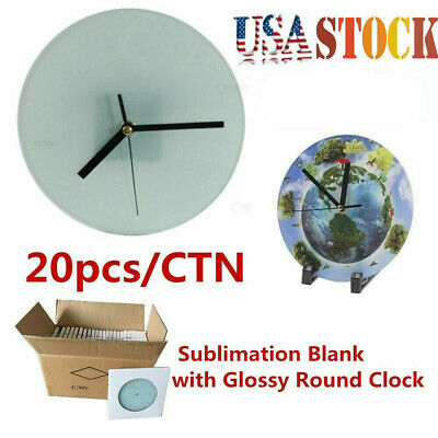 Us Stock 20pcs White Sublimation Blank Glass Photo Frame With Glossy Round Clock