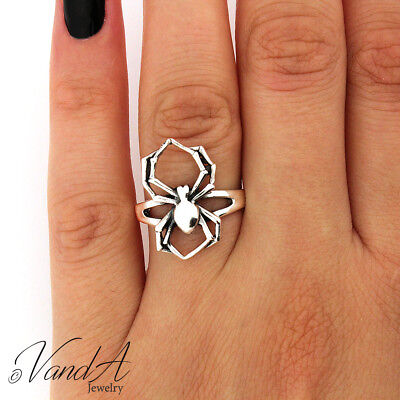 Halloween Spider Ring (Sterling Silver 925 Spider Ring Black Widow Halloween Jewelry Insect Ring)