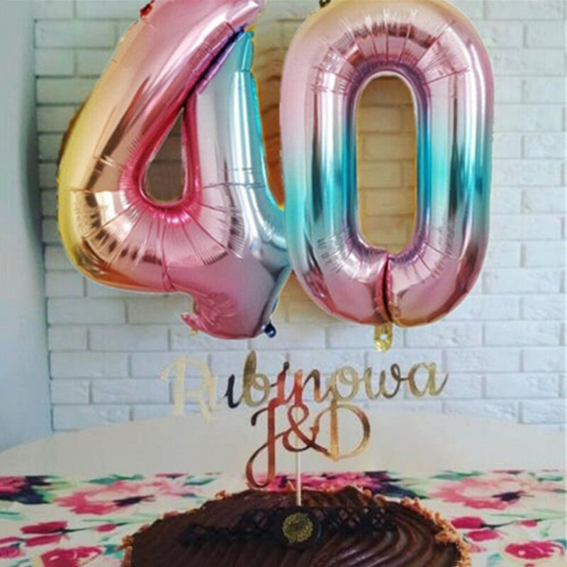 """32/"""" 40/"""" Giant Foil Number Balloons Rainbow Color Birthday Age Party Wedding"""