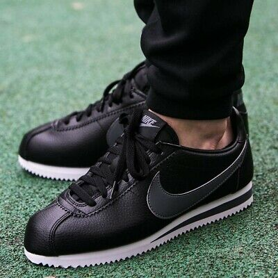 NIKE MENS CORTEZ LEATHER - UK 5.5/US 6/EUR 38.5 - BLACK/GREY/WHITE (749571-011)