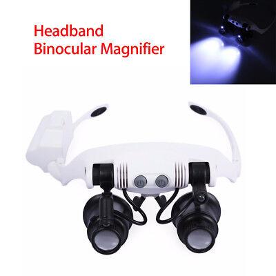 Stirnband-Fernglas-Lupe mit 2 LED-Licht für Uhr-PWB-Reparatur