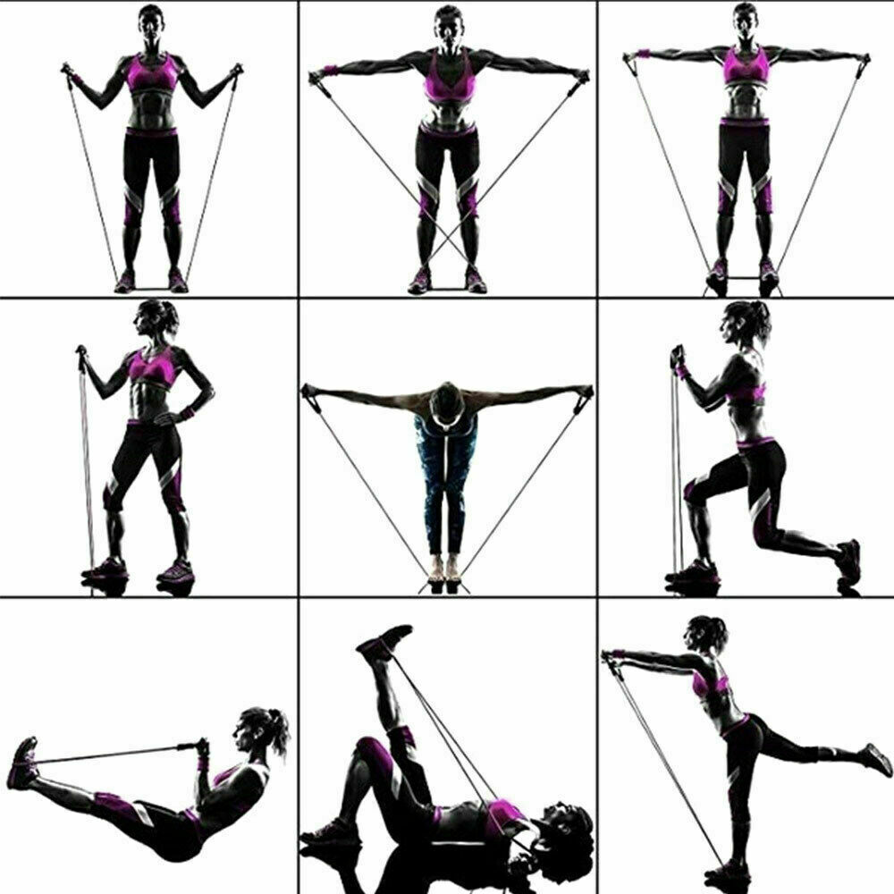 Resistance Bands 11 PCS Set Yoga Pilates Abs Exercise Fitness Tube Workout Bands 8
