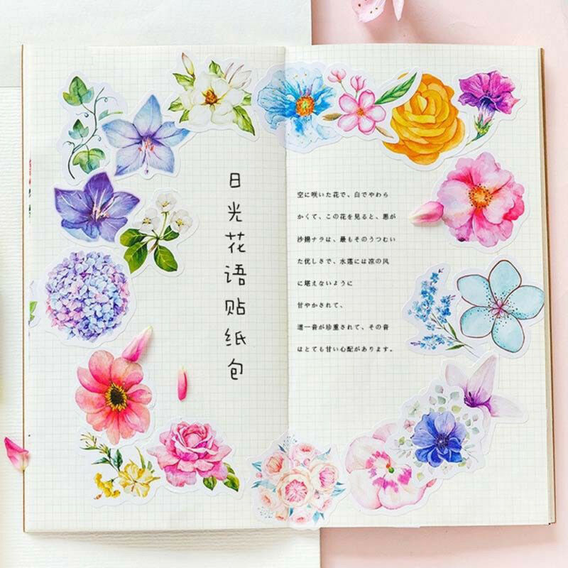 45Pcs DIY Kawaii Journal Diary Decor Flower Stickers Scrapbooking Stationery